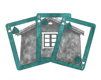 """Illustration: Illustrated sheet """"Letters"""" A4 - decoration - print - pencil - watercolor - House poker - turquoise cottage"""