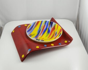 Fused glass curve with insert for small bowl or candle