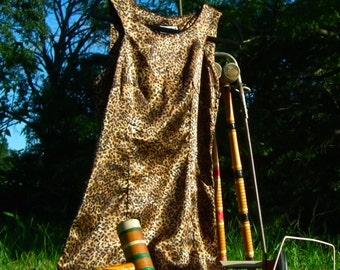 Silky Leopard Print Vintage Dress