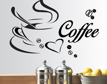Vinyl Coffee, Tea, Chocolate Cup Kitchen Wall Art Sticker Graphic 3 Designs