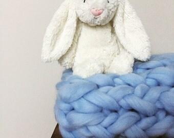 Chunky 100% Merino Wool Giant Knit Baby Boy Blanket