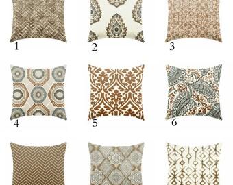 brown pillow - caramel brown pillows - pillow cover only - cushion cover -ZIPPER CLOSURE