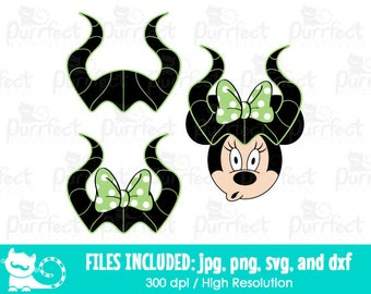 Disney Maleficent Horns SVG, Minnie Halloween Maleficent Horns SVG, Disney Digital Cut Files in svg, dxf, png and jpg, Printable Clipart