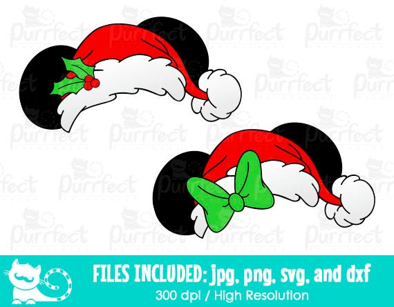 mickey and minnie christmas ear hat svg disney christmas hat svg disney digital cut files in svg dxf png and jpg printable clipart from - Disney Christmas Ears