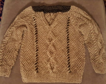 Handknit Boys Wool Donegal Cable Sweater