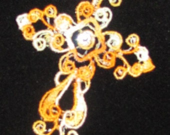 Yellow Verigated Cross    Bookmark or Ornament