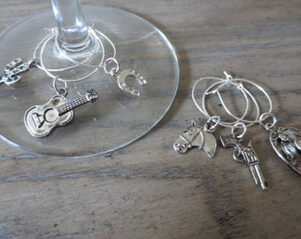 Wild West wine charms - set of 6