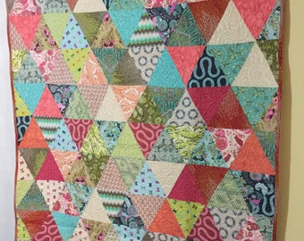 """Mid Century Mod Modern Triangles Quilt 54"""" by 75"""" Blue Green Pink Red Stripes Cotton Fabric Handmade"""
