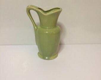 Vintage Mid Century USA Celery Color Ceramic Pitcher