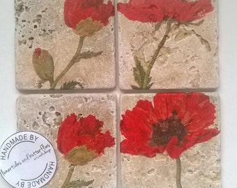 Beautiful Poppy Natural Travertine Stone Coasters.