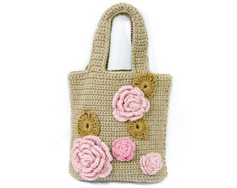 Cute Crochet Bag for Work or Shopping, Cottage Chic Bag, Shabby Chic Bag, Beige Handbag with Chunky Pink Flowers, Small Romantic Tote Bag