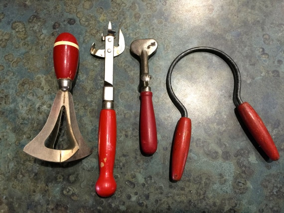 Vintage Red Wood Handle Kitchen Utensils Chopper Openers