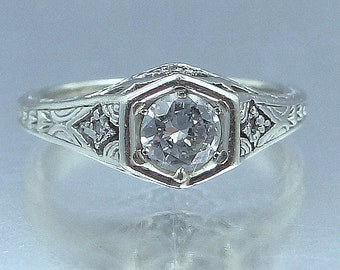 Art Deco 14k White Gold Filigree 1/2 Carat Solitaire Diamond Engagement Wedding Ring