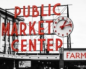 Seattle's Pike Place Public Market Canvas Gallery Wrap - 12x16 to 24x30 Large Wall Art - Black & White with Red - Urban Photography