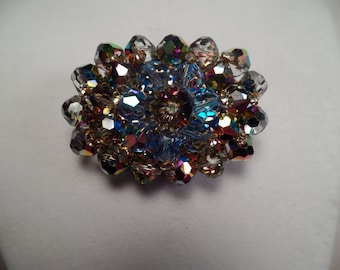 Amazing 1950's Crystal and Rhinestone Brooch-Super Sparkle