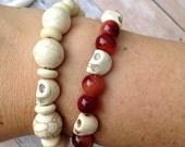 Skull bracelet, brown glass beads, cream beads, stackable bracelets, skull, summer