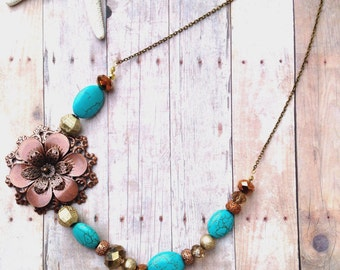 Flower turquoise and brown necklace