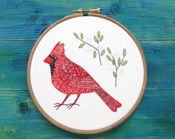 Hand Embroiderey, Cardinal Bird with Flowers, Framed in an Embroidery Hoop