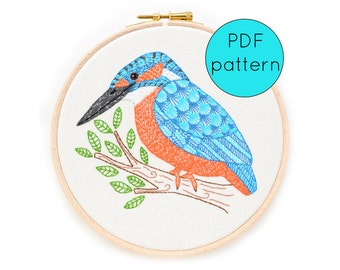 Hand Embroidery Pattern PDF Download, Kingfisher bird embroidery pattern