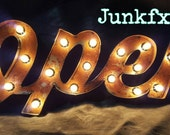 """Script marquee  lighted """"OPEN"""" sign by Junkfx"""