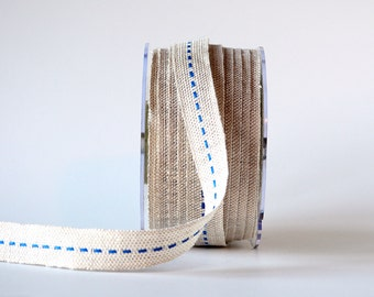 """Burlap Ribbon with Colorful Center Stitch in Blue 5 Yards 5/8"""" Wide Jute Ribbon"""