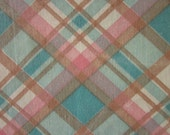 "Vintage Cotton Fabric - Pink + Turquoise Plaid, Two Large Scraps, 12"" x 32"" and 8"" x 28"""
