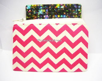 Fuscia pink chevron, small unpadded zip coin purse, portefeuille, women wallet, id credit card case, id1370619, portemonnaie, pouch