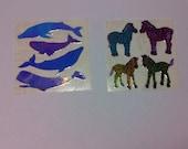 Iridescent Vintage Animal Sticker Set Whale Zebra