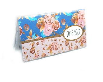 2016 - 2017  mini Planner - Gilded Roses pocket planner - two year planner  2 year monthly planner horizontal, pretty soft pink rose floral