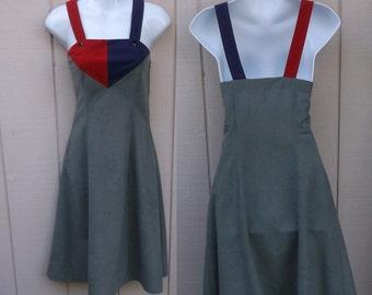 Vintage 70s Gray Color Block Faux Suede Patchwork Jumper Dress / Sz xs