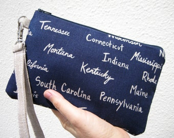 WEDDING CLUTCH gift pouch 2 pockets,wristlet, navy, bridesmaid,linen,cotton, - All the states