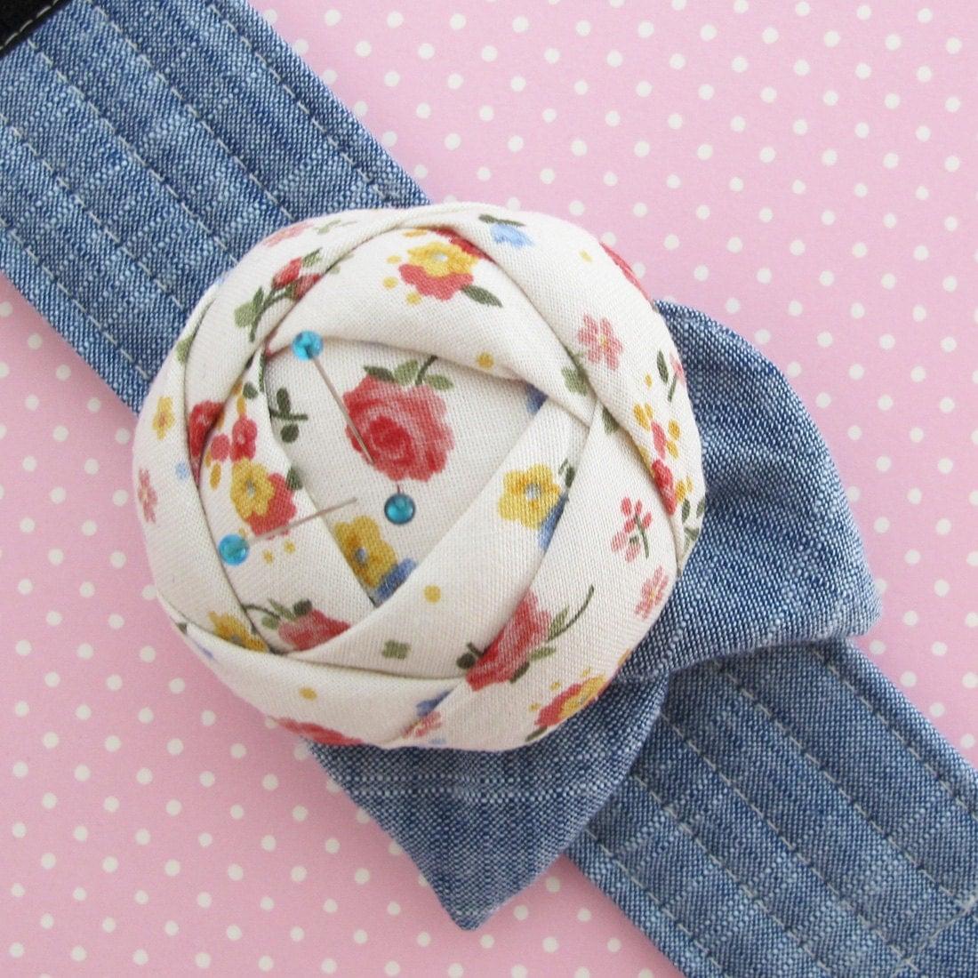 Flower Wrist Pattern: Flower Pincushion Cuff Rose Pin Cushion Wrist Cuff