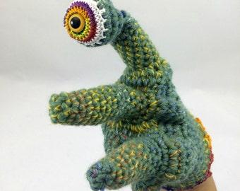 Eyeball Monster Hand Puppet, Amigurumi Collectible