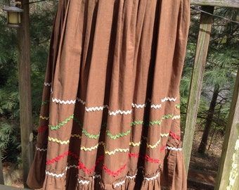 Vintage Brown Cotton Circle Skirt Square Dance Rockabilly Rick-Rack