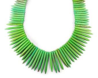 Green Howlite Graduated Sticks Gemstone Beads