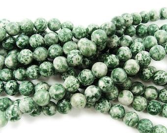 Green Spot Jasper Round Gemstone Beads