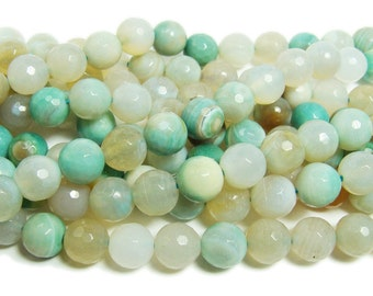 Striped Turquoise Agate Faceted Gemstone Beads