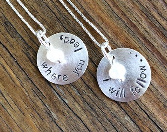 Stamped Sterling Silver Where You Lead, I Will Follow Gilmore Girls Friendship Necklaces