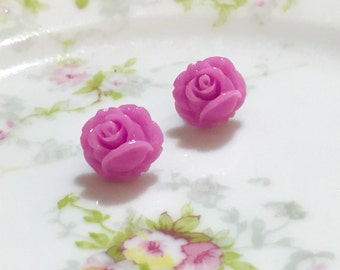 Tiny Rose Studs, Lavender Rose Studs, Purple Flower Earrings, Rose Studs, Tiny Flower Earrings, Flower Girl Earrings, Surgical Steel Studs
