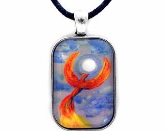 Phoenix Rising in Denim Blue Moonlight Pendant Fantasy Bird Necklace Moon Firebird Unisex Men's Handmade Jewelry Goes Great with Jeans
