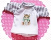 Long Sleeve Gray Striped Cute Kitten Tee T-Shirt for Blythe