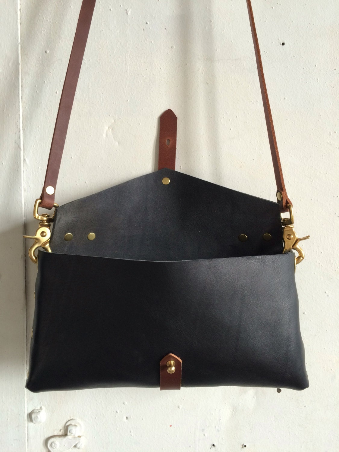 Envelope clutch in black and cherry