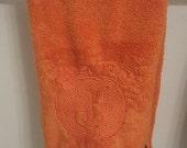 ON SALE Pumpkin Monogram Embroidered hand towel