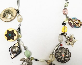 Exotic Charm Necklace with 8 charms on embellished chain, many vintage jewels and details, floral details, charms, handmade charms, antique