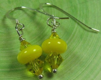 Tiny yellow lampwork drop earrings