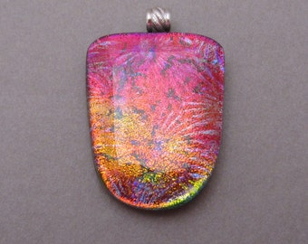 Large Fused Dichroic glass pendant Coastal Sunrise double dichroic fused glass jewelry pendant solid sterling silver bail 925