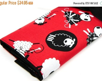 Sale 25% OFF Large Knitting Needle Case - Red Sheep - multi 30 black pockets for straights, circulars and double points