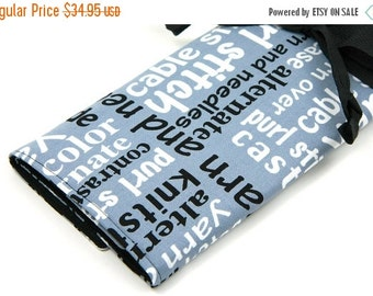 SALE Large knitting needle case - knitting words - multi 30 black pockets for circular, straight, double points