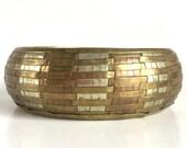 Vintage Mixed Metals Woven Bangle Bracelet - Antique Brass, Antique Gold, and Antique Silver - Stripes Lines Plaid Basket Weave - Domed Top