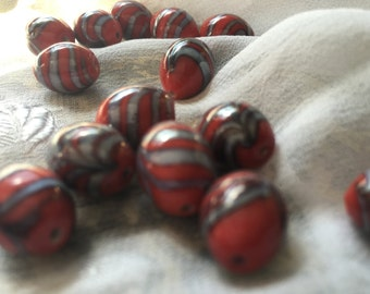 Indian Lampwork Glass Oval Beads